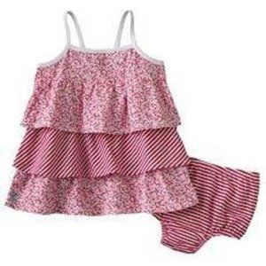 Chaps 2 Pc Red White Summer Tiered Dress Bloomers